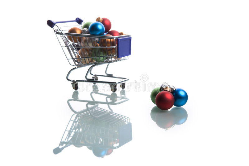 Download Shopping Cart Full With Colorful Christmas Balls Stock Photography - Image: 7485112