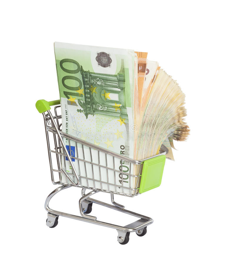 Shopping cart full of euro money stock photography