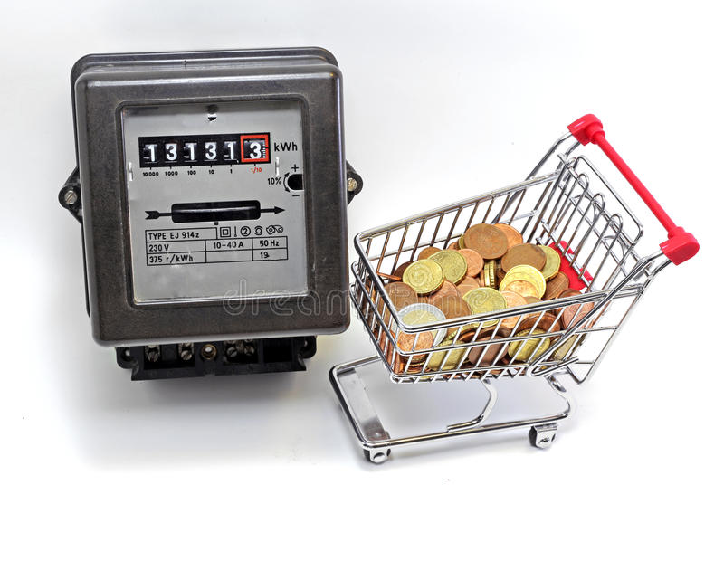 Shopping cart full and METER. Shopping cart full of European currencies and the meter of the family consumption royalty free stock photography