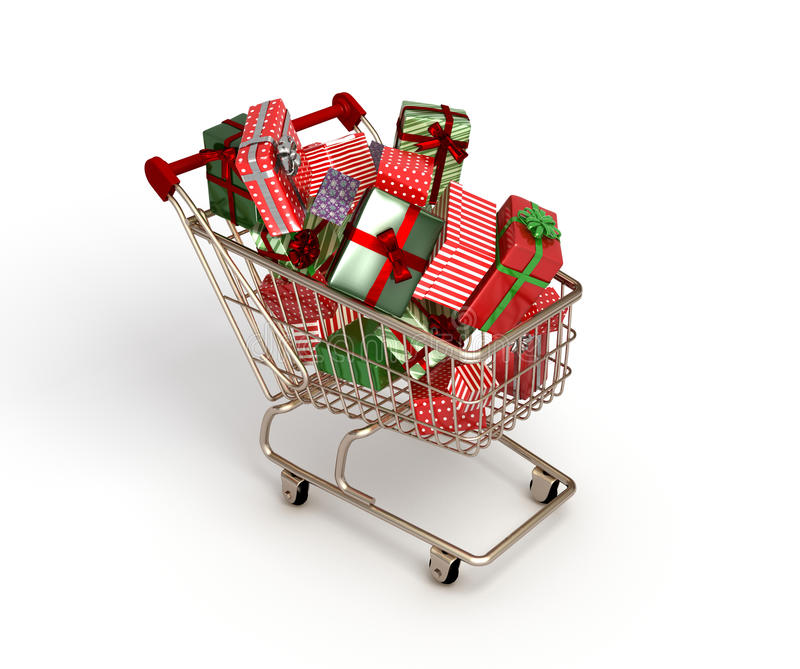 Shopping cart. Full of packages on white surface stock photo