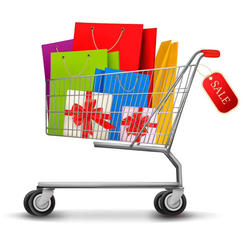 Shopping cart full of shopping bags and gift boxes stock illustration