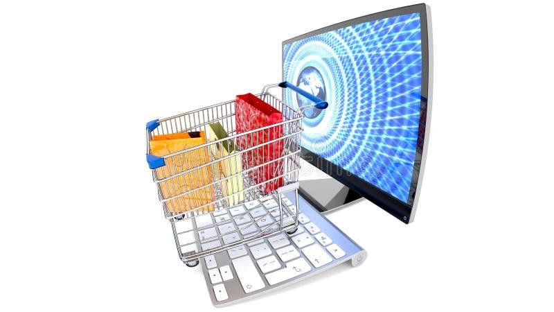 E-commerce, digital shopping, spending money online, new consumer era. stock illustration