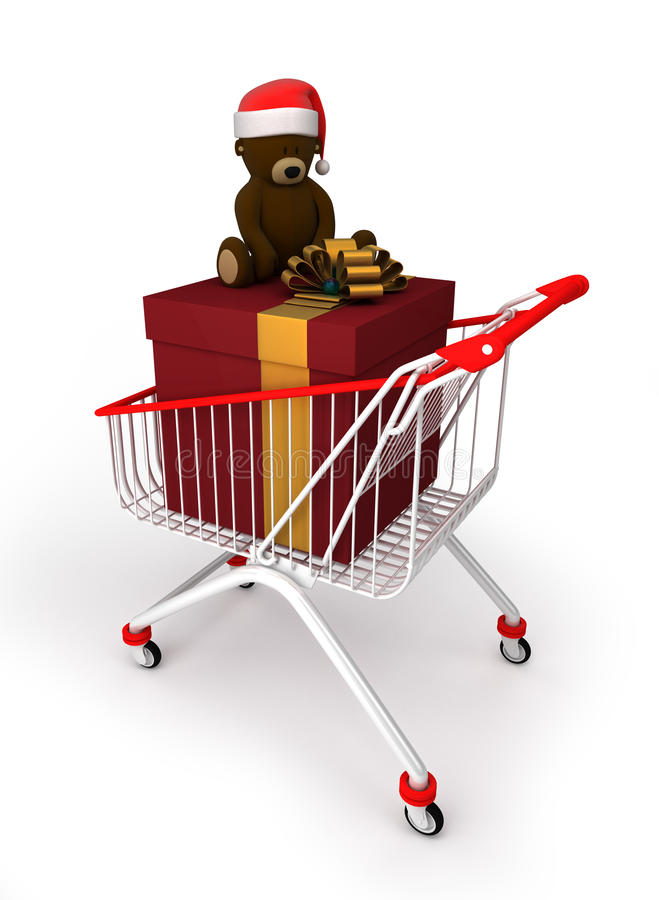 Shopping Cart With Gift Box And Teddy Bear Stock Photos