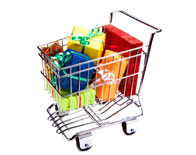 Download Shopping Cart With Gift Boxes Stock Photo - Image: 21965686