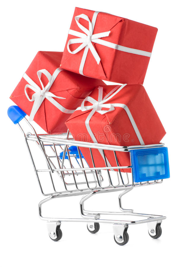 Download Shopping cart with gifts stock image. Image of customer - 18342521