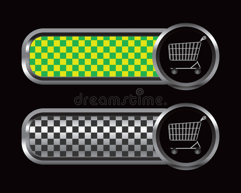 Shopping cart with a green and black checked ads royalty free illustration