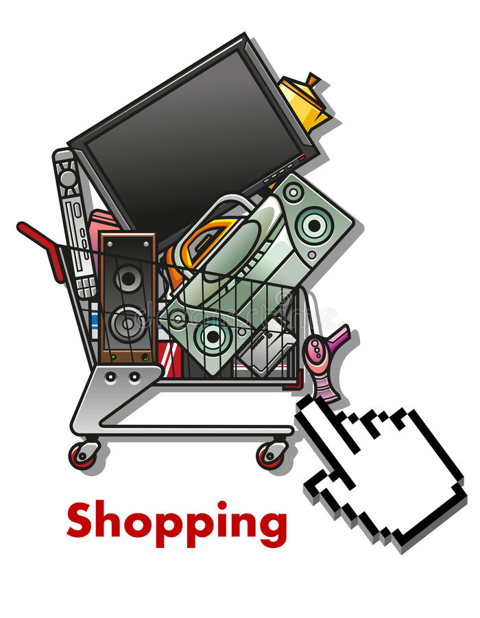 Shopping cart with household appliances stock illustration