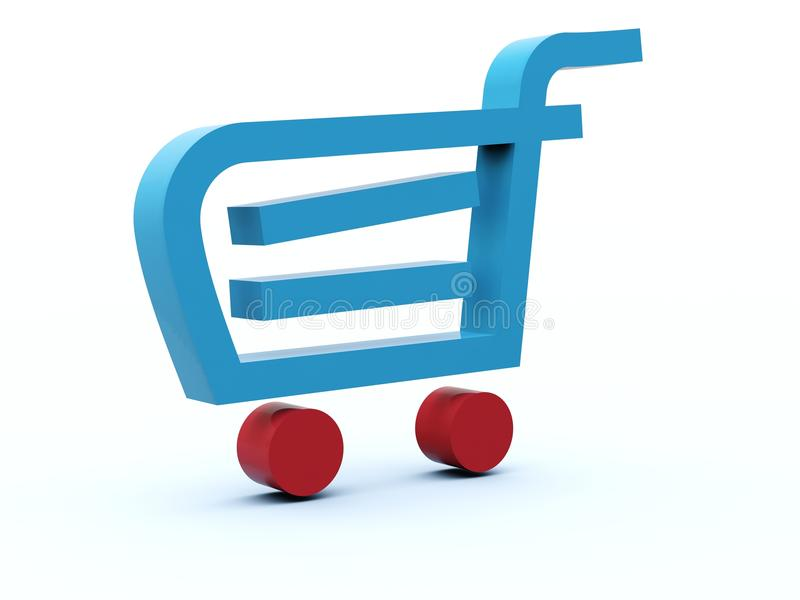 Shopping cart icon. From blue and red series stock illustration