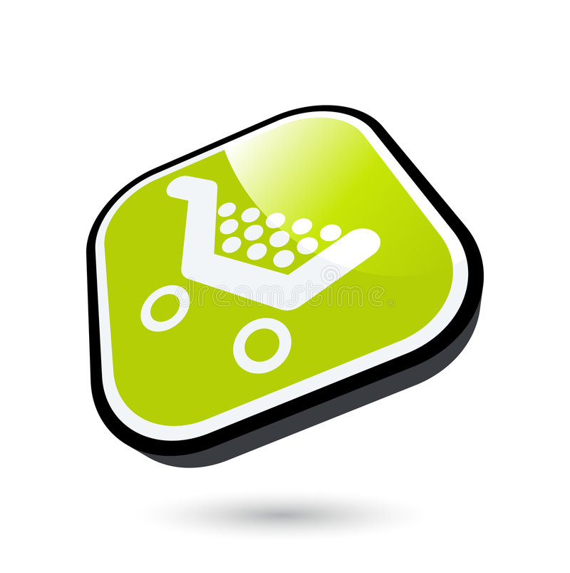 Shopping cart icon. Illustration of a floating button with a shopping cart icon. Isolated against a white background. Vector format available