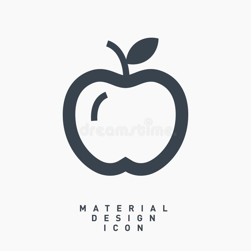 Apple fruit material design line vector icon stock photography