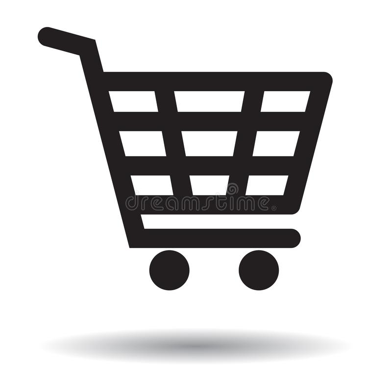 Shopping cart icon black and white. Buttons on white background - vector illustration stock illustration