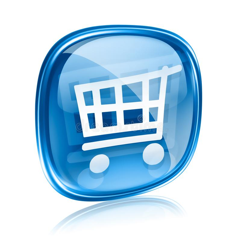 Shopping cart icon blue glass. stock illustration