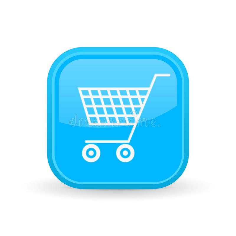 Shopping cart icon. Blue square shiny button royalty free illustration
