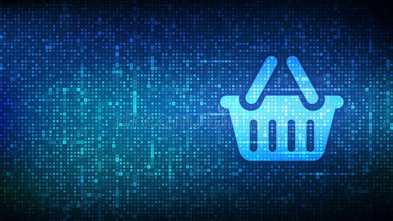 Shopping cart icon made with currency symbols. E-commerce technology concept. Internet shopping. Online purchase. Dollar, euro, royalty free stock image