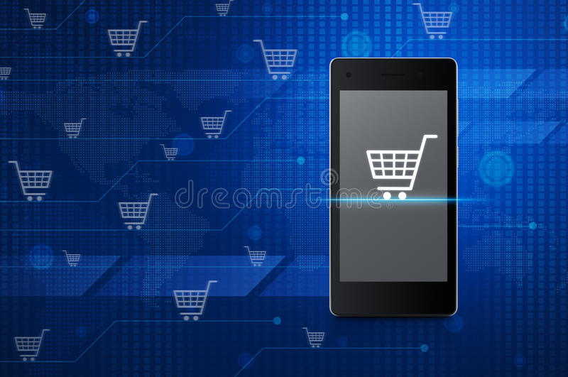Shopping cart icon on modern smart phone screen over digital wor royalty free illustration