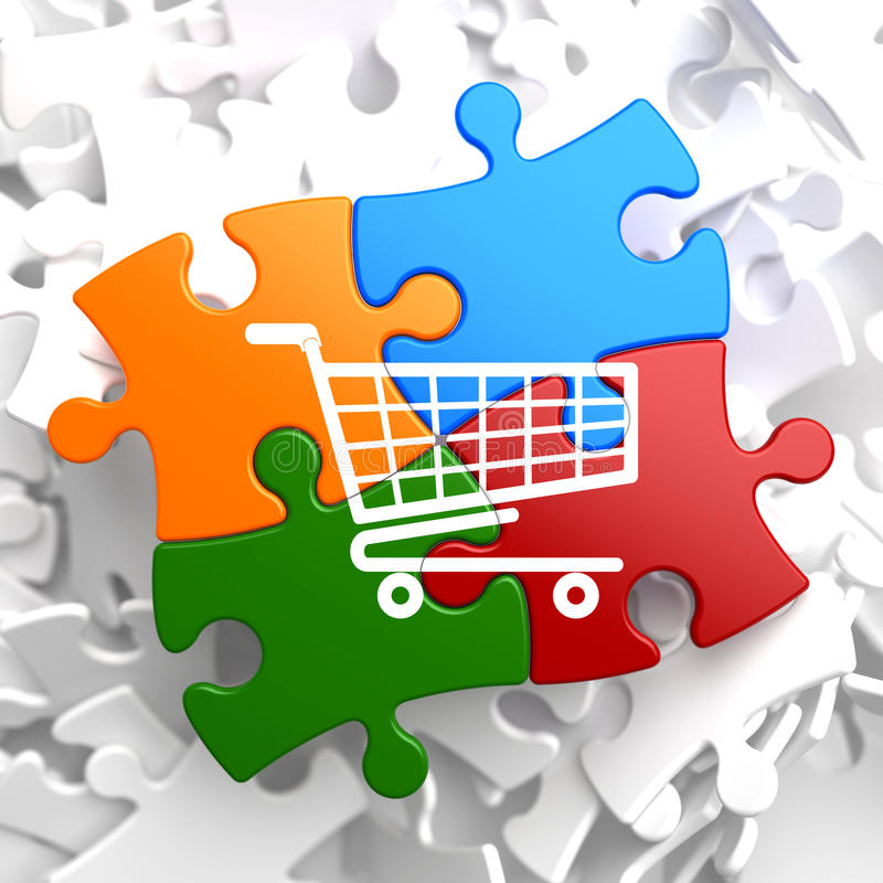 Download Shopping Cart Icon On Multicolor Puzzle. Stock Illustration - Image: 34637454