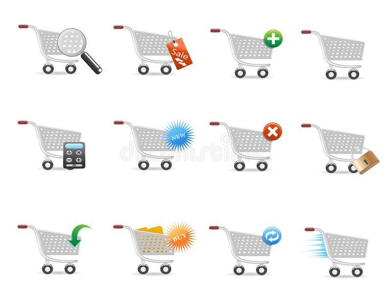 Download Shopping cart icon set stock vector. Illustration of modern - 22308467