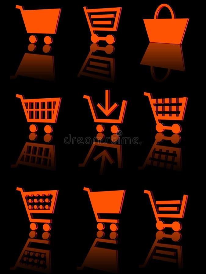 Shopping cart icon set 3d stock photo