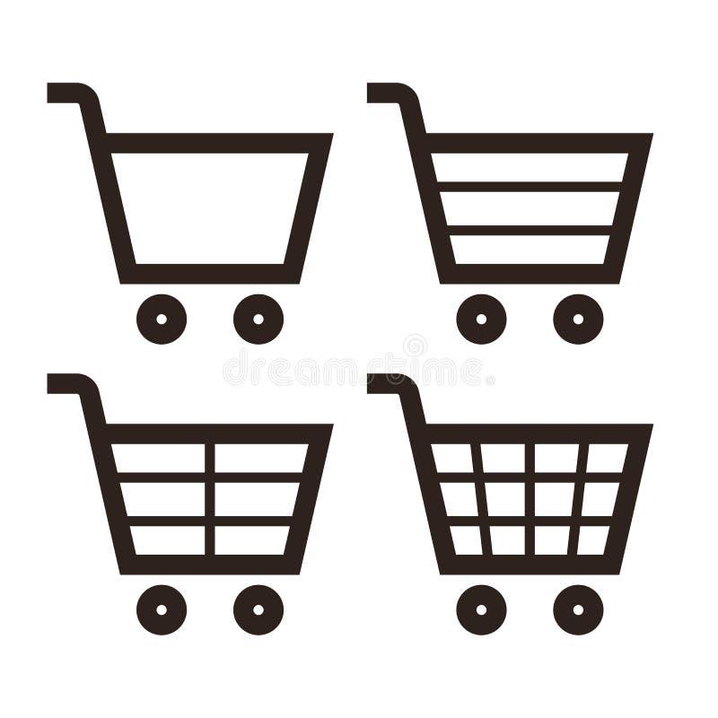 Shopping Cart Icon Set. Isolated on white background vector illustration