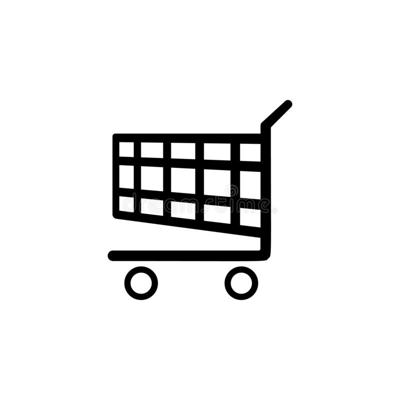 Shopping cart icon. Simple glyph vector of universal set icons for UI and UX, website or mobile application. On white background stock illustration