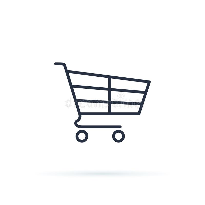 Shopping Cart Icon Vector Illustration. Fast delivery shopping cart icon thin line for web and mobile, modern design. royalty free illustration
