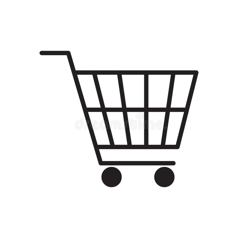 Shopping cart icon vector illustration. Free Royalty Images. A cart supplied by a shop, especially supermarkets, for use by customers inside the shop for royalty free illustration