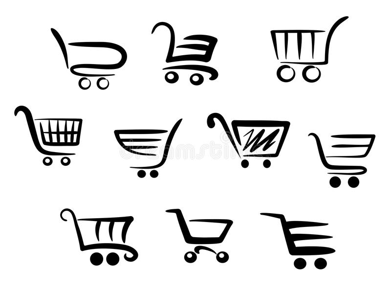 Shopping cart icons. Set for business and commerce projects vector illustration