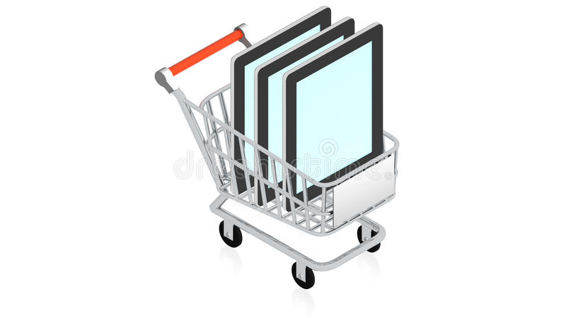 Shopping cart with item stock illustration