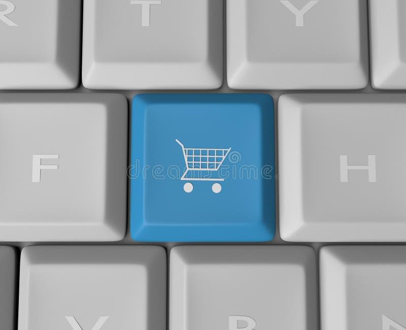 Shopping Cart Keyboard Button. A blue shopping cart key button on a computer keyboard stock illustration