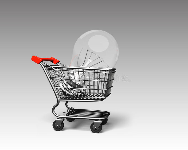 Shopping cart with large light bulb, 3D rendering vector illustration