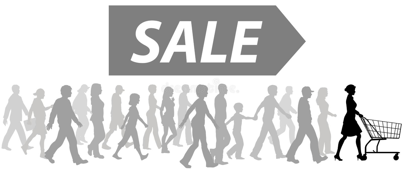 Download Shopping Cart Leader Shoppers Parade To Buy Sale Stock Vector - Image: 14339166