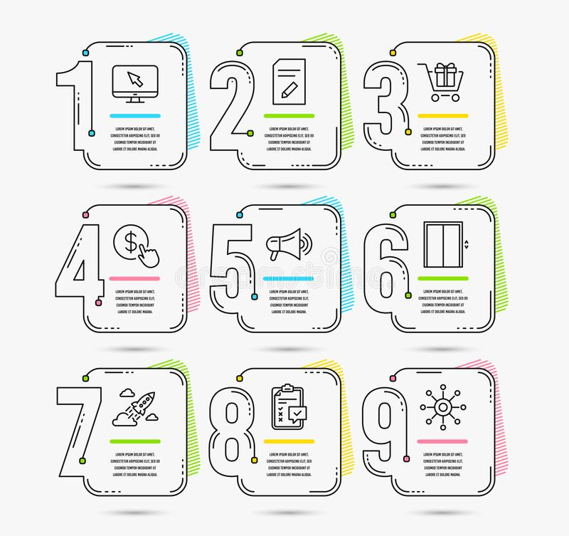 Shopping cart, Lift and Edit document icons. Buy currency, Checklist and Megaphone signs. Vector vector illustration