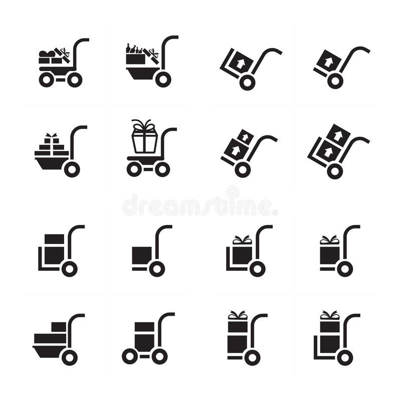 Shopping Cart and man courier set royalty free stock photography