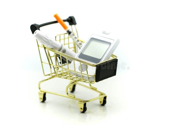 Shopping cart of medicine, diabetes, glycemia, health care concept. stock photo