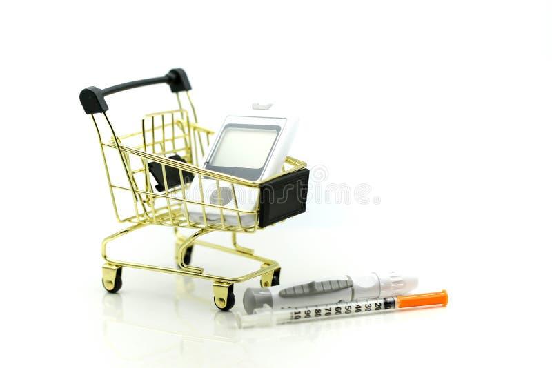 Shopping cart of medicine, diabetes, glycemia, health care concept. stock image