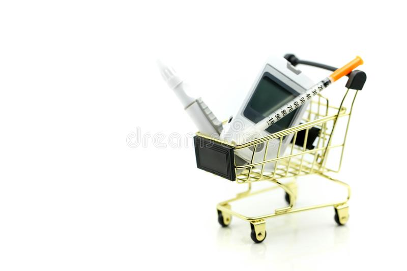 Shopping cart of medicine, diabetes, glycemia, health care concept. royalty free stock photography