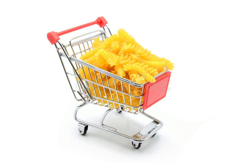 Shopping cart noodles royalty free stock image