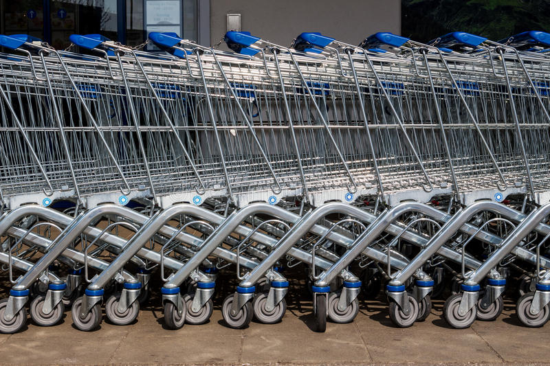 Shopping cart outside a supermarket stock photo