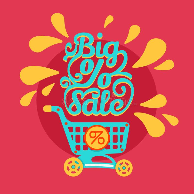 Shopping cart with percent discounts and sale text. Shopping cart with percent discounts. Flat modern design of concept of sales with shopping trolley and big vector illustration