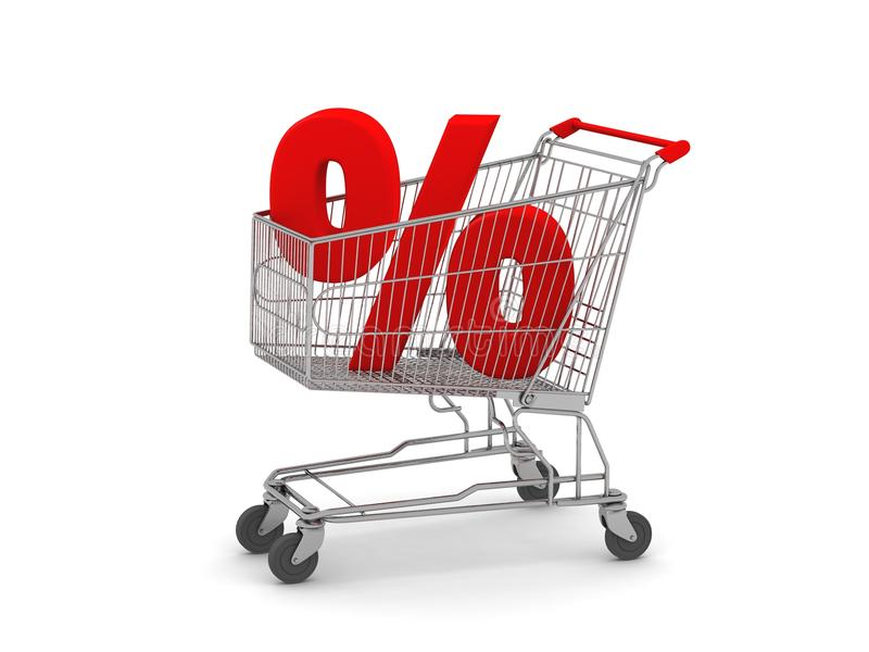 Shopping Cart with Percent Sign. Digital render of a Shopping Cart with a Percent Sign vector illustration