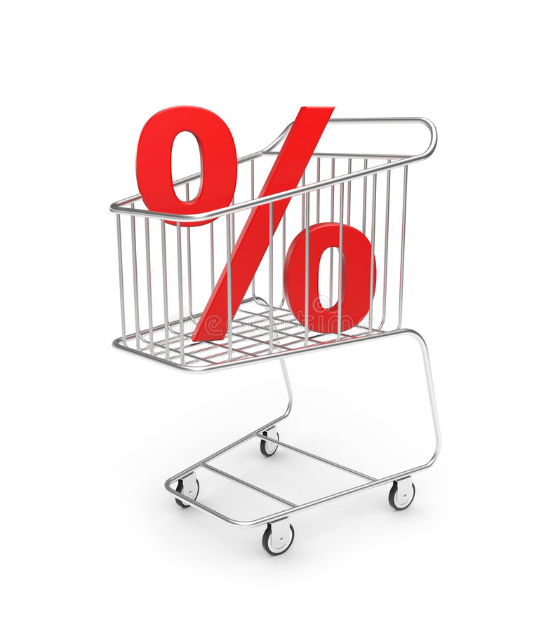 Shopping cart with percent sign. Sale concept stock illustration