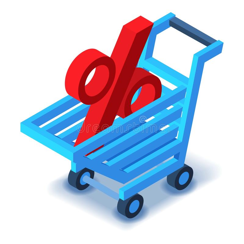 Shopping cart percent sign icon, isometric style. Shopping cart with percent sign icon. Isometric illustration of shopping cart vector icon for web design stock illustration