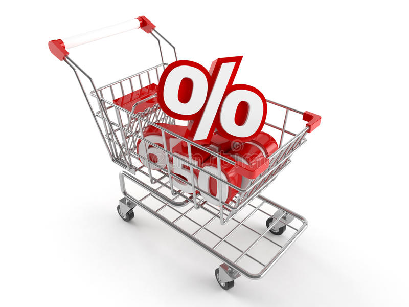 Shopping cart with percent symbol. Isolated on white background royalty free illustration