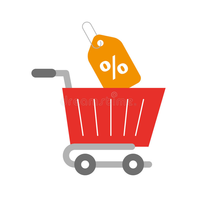 Shopping cart with percent tag. Vector illustration design stock illustration