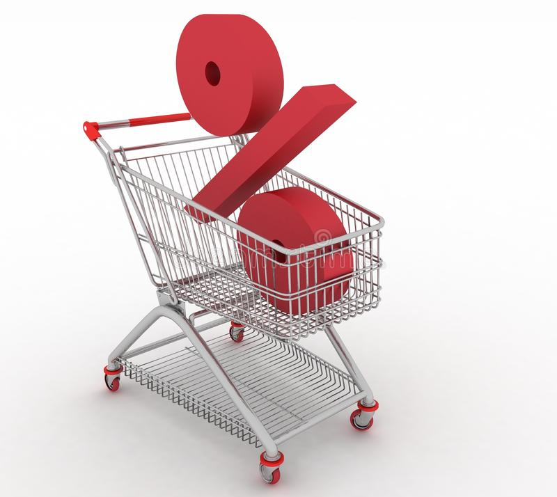 Download Shopping Cart With Of Percentage Stock Illustration - Illustration: 26661953