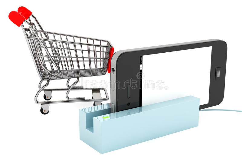 Shopping Cart with Phone in Card Reader stock image