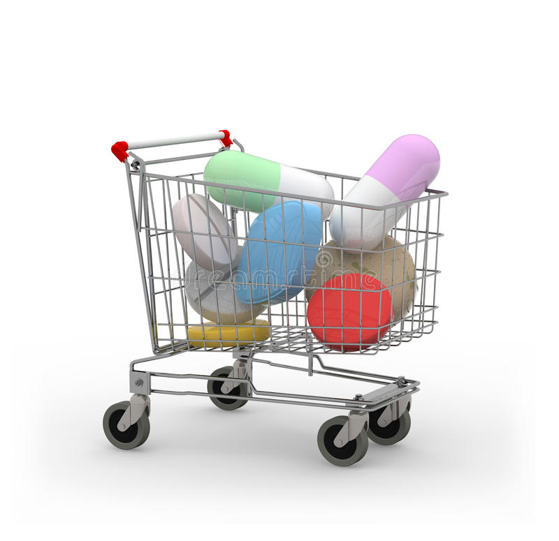 Shopping cart with pills and capsules 3d illustration royalty free illustration