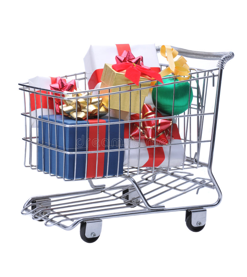 Shopping Cart with Presents. Shopping Cart Full of Christmas Presents isolated over white stock photos