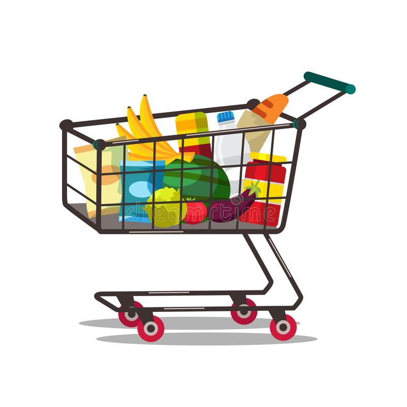 Shopping cart with products vector illustration isolated on white background stock illustration