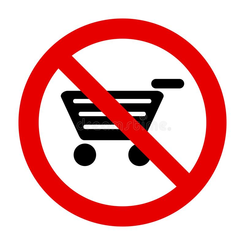 Shopping cart and prohibition sign. As vector illustration royalty free illustration